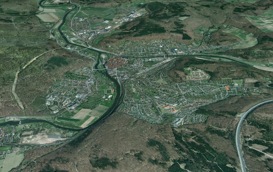 Birdseye view of Hannoversche Münden - Source: Google Earth