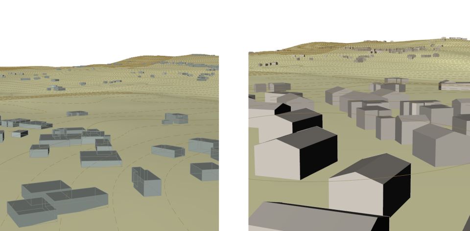 """Buildings moved to Surface and """"Extruded"""" with Random range of heights  (Left) - Extruded with additional Roof Pitch procedure, right."""