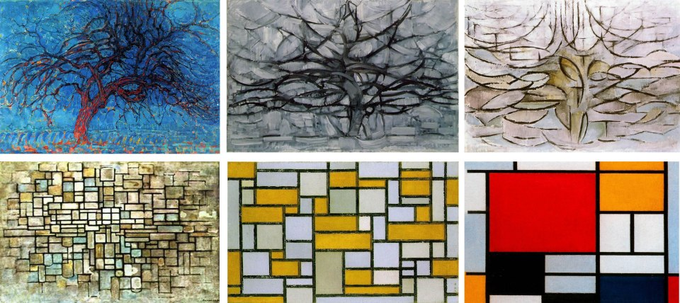 Evolution of Mondrian Paintings between 1908 - 1921.  From Top Left -  1. The Red Tree (1908-1910) 2. The Grey Tree (1911) 3. Flowering Apple Tree (1912) 4. Composition in Blue-Grey-Pink (1913) 5. Composition with Gray, White and Brown (1918), 6. Composition with Large Red Plane, Yellow, Black, Gray and Blue, 1921. Source: Wikiart.org, except 3. abcgallery.com & 4. paintingdb.com
